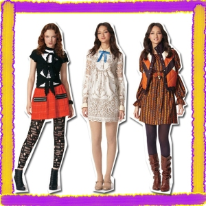 "Looks from Anna Sui's line for Target, inspired by ""Gossip Girl."" http://www.chicintuition.com/wp-content/uploads/2009/06/anna-sui-and-target.jpg"